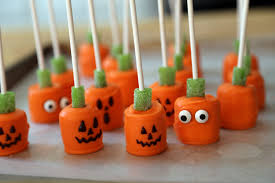 halloween treats candy dipped marshmallow pumpkin pops