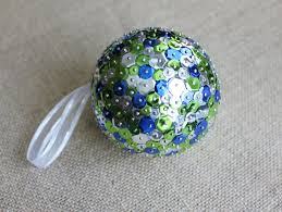 large sequin christmas ornament cobalt blue lime green