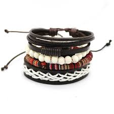 bead bracelet set images 1 set 4pcs leather bracelet men 39 s multi layer bead bracelet jpg