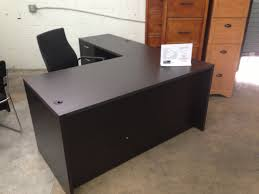 l shaped black wooden desk with drawers and steel handle plus black chair on grey rug stunning ideas of black desk with drawers show minimalist looks as