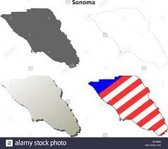 California Map Outline Sonoma County California Outline Map Set Stock Vector Art