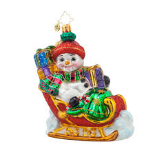 radko 1017623 frosty sleighride snowman in sleigh with gifts