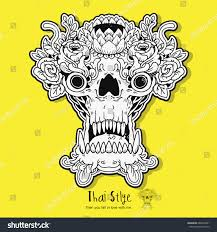 tattoo skull design thailand hope everyone stock vector 680435281