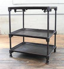 round industrial side table 2 tier side table three tier cast iron vintage industrial side table