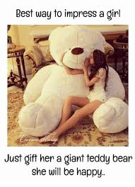 Teddy Bear Meme - best way to impress a girl just gift her a giant teddy bear she