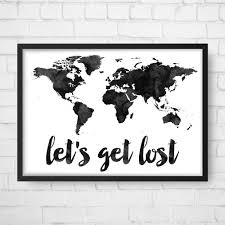 Printable World Map Watercolor World Map Let U0027s Get Lost World Map Art