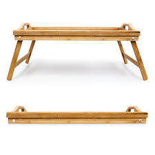 breakfast in bed table relaxdays bamboo bed tray size 21 5 x 47 x 27 cm knee table with