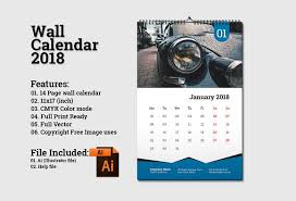 Calendar 2018 Ai Template Wall Calendar Template 2018 V5 Stationery Templates Creative