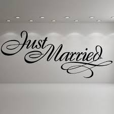 wedding party quotes just married sign wedding wall stickers occasion decor