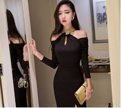 charming women dress solid color long sleeve hollow out off