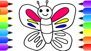 how to draw butterfly coloring pages for baby learning videos kids