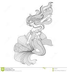 detailed zentangle mermaid for coloring page stock vector image