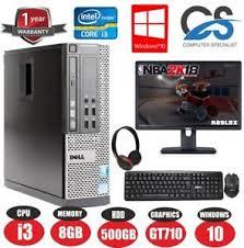ensemble ordinateur de bureau gaming dell bundle desktop pc set computer system intel i3 8gb