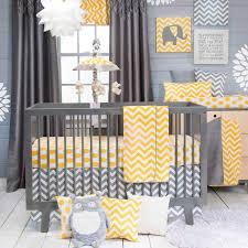 chevron modern gray and yellow polka dots nursery baby 3 piece