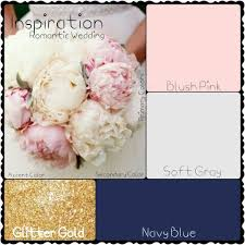 gold and gray color scheme romantic wedding blush pink soft gray navy blue and glitter