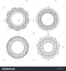 set vintage floral frames line stock vector 589280717