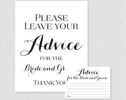 advice cards for and groom printable wedding advice cards etsy