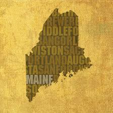 Maine State Map by Word Art State Map On Canvas Mixed Media By Design Turnpike