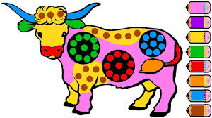 cute cow coloring page for kids drawing cow learn colours