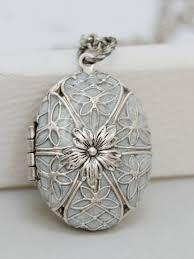 Personalized Photo Locket Necklace Locket Silver Locket Pearl White Locket Filigree Locket Necklace