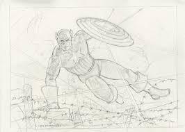 captain america into battle sketch marvel spiderwebart gallery