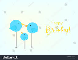 birthday greeting card drawing family birds stock vector 621686618