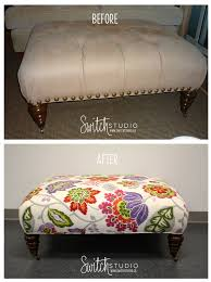 Reupholster Leather Ottoman Switch Studio Before Afters Reupholstered Ottoman Floral