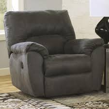 Oversized Swivel Rocker Recliner Signature Design By Ashley Tambo Pewter Casual Contemporary