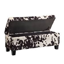 black cow hide fabric animal print bench ottoman stool toy box
