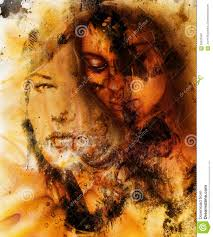 Color Painting by Young Woman Portrait Color Painting On Abstract Stock