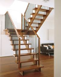 awesome modern stair design interior with white brown laminated