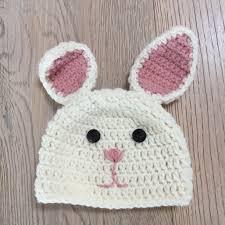 bunny hats crochet on a train