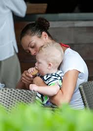 boris and lilly becker having lunch outdoors in miami with baby