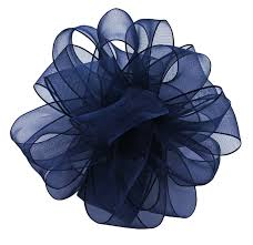 navy blue wired ribbon offray wired edge encore sheer craft ribbon 1 1 2