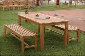 Wooden Patio Dining Set 3pc Bahama Rectangular Teak Dining Table And Bench Set Patio Decor