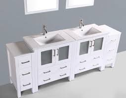 contemporary 84 inch white double sink bathroom vanity set with mirror