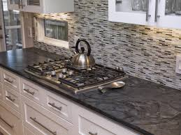 Kitchen Mosaic Tile Backsplash Ideas by Kitchen Style Concrete Countertop And Stainless Steel Gas Stove