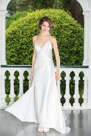 wedding dresses without straps simple sheath spaghetti straps slit side satin wedding dress