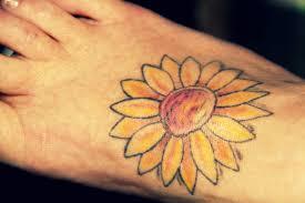 33 sun flower foot tattoos