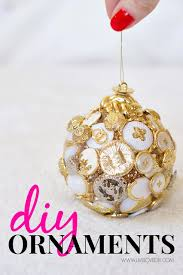 diy ornaments made with gold buttons a styrofoam