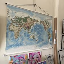 Large World Map Canvas by Canvas World Hanging Map Large Ballyhoo
