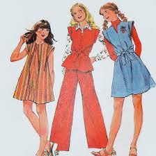 girls jumper dress top pants 70s pattern notch neckline cap