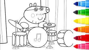 peppa pig daddy pig playing on musical instrument coloring pages