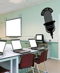 vinyl wall decal sticker on the air microphone os mb809