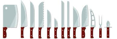 different types of kitchen knives knife a set of different vector illustrations stock vector