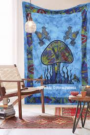 American Flag Tapestry Wall Hanging Blue Twin Size Mushroom Printed Tie Dye Tapestry Wall Hanging