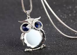 necklace with crystal pendant images Owl silver plated necklace crystal pendant medusa gifts bulgaria jpg