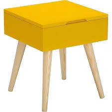 alinea bout de canapé bout de canapé carré jaune avec coffre de rangement rexxar
