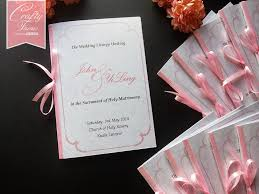 booklet wedding programs wedding card malaysia crafty farms handmade soft pink peonies