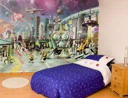 home design bedroom decorating idea for kids with astronaut wall